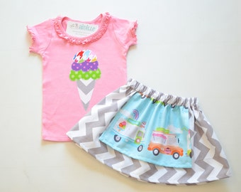 Size 18m Girls Ice Cream Outfit 1st Birthday Outfit Ice Cream Truck Apron Twirl Skirt Short Sleeve Pink Ice Cream Applique Top Ready to Ship
