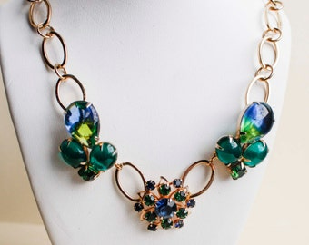 Blue & Green Crystal in Gold Vintage Flower Necklace - Chunky, Repurposed Vintage Jewelry, Brooch