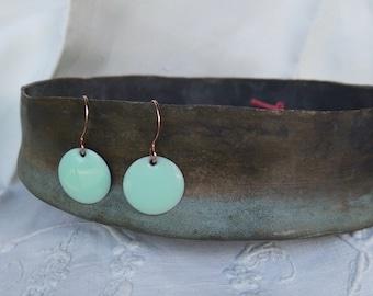 Mint green enamel earrings. Simple mint disc earrings. Modern mint green earrings.  Minimalistic Jewelry. Mint green Jewelry.