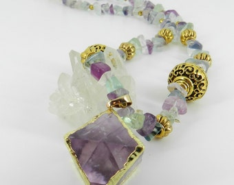 Fluorite Cube Necklace, Octahedron Pendant, One of a Kind, Crystal Lover, Mineral Collectors