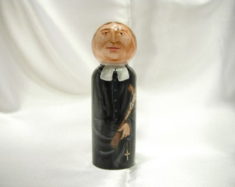 Saint Louis de Montfort - Catholic Saint Wooden Peg Doll Toy - made to order