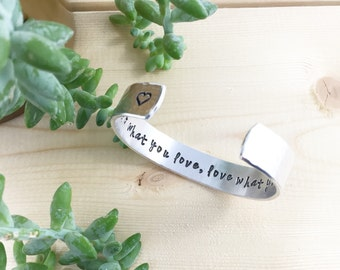 SALE Do What You Love, Love What You Do, Inspirational, Inspirational Quote Jewelry, Message Jewelry, Inspirational Cuffs