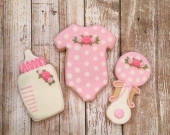 Baby  Shower Favors, Girl Onesie, Bottle & Rattle Cookie Favors - 1 dozen