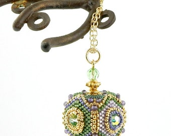Beaded Bead Pendant Necklace - beaded beads by Sharri Moroshok