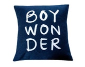 Boy Wonder Pillow, Navy and White