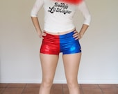 Shiny Red and Blue Harley Quinn Shorts - in stock