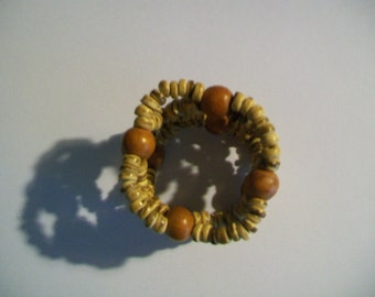 Vintage Wooden Napkin Rings - Set of 10