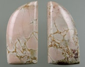 Magnesite Pink Pony 100% Natural Hand Cut Cabochon Pair from 49erMinerals Stock#C1391, free U.S. shipping
