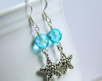 sea star silver drop earrings, dangle, french hook, starfish, beach, summer, sparkle, blue
