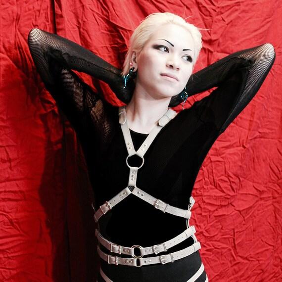 Triple penetration leather harness