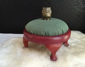shabby chic cushion pillow wood foot stool / seat / red / green