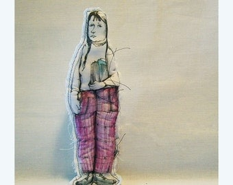 art doll girl woman original handmade hand painted Real People fabric textile soft sculpture OOAK