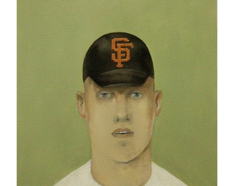 American boy man portrait SF original painting people figurative baseball