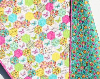 Butterfly Quilt, Hexagon Stripes, Girl Bedding, Baby Crib Blanket, Toddler Bed Quilt, Pink Aqua Teal Yellow, Flowers Dots, Butterflies Girly