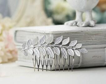 Silve Leaf Hair Comb Bridal Hair Comb Wedding Hair Accessory Silver Leaf Branch Grecian Goddess Hair Comb Woodland Wedding Bridal Hairpiece