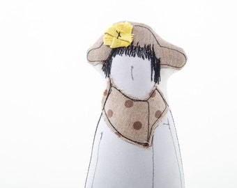 Grandma doll, Soft sculpture woman doll , lady wearing a hat, canvas scarf & dotted skirt- Family Portrait dolls - Handmade eco fabric doll
