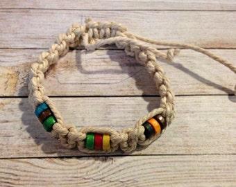 The Bridget Bracelet | Woven Macrame Bracelet | Multicolor Bracelet | Waxed Cotton Bracelet | Braided Bead Bracelet