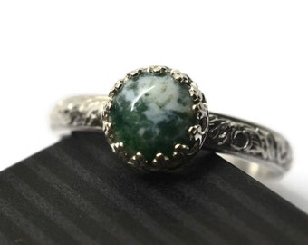 Moss Agate Ring, Floral Sterling Silver Ring, Natural Gemstone, Dendritic Tree Agate Ring, Personalized Engagement Ring, Customized Gift