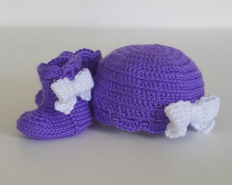 Crochet Purple Hat and Booties with Bows (0-6 months)