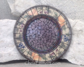 Mosaic Trivet - Candle Plate, Home Decor, Purple Mixed Media Art,