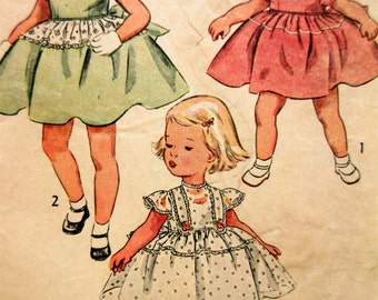 Vintage Simplicity 3834 Sewing Pattern, 1950s Child's Dress Pattern, Girl's Frock, Puffed Sleeves, Little Girl Dress, 1950s Sewing Pattern
