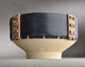 Shaving Bowl Ready To Ship Sheet Metal Chawan Dottie Shaving Bowl by Symmetrical Pottery