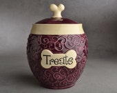 Dog Treat Jar  Ready To Ship Curls Purple Pet Treat Jar by Symmetrical Pottery