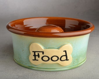 "Slow Feeder Dog Bowl Ready To Ship 7"" Dog Bowl by Symmetrical Pottery"