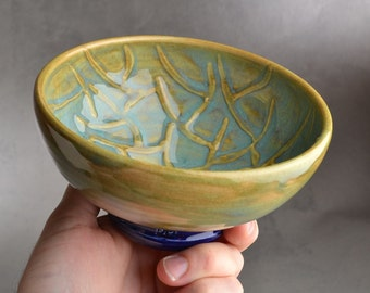 Shaving Bowl Ready To Ship Turquoise Random Lines Lather Shave Bowl by Symmetrical Pottery