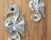 Vintage 50's Abalone Shell and Lucite Seahorse Wall Hangings