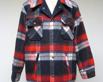 Vintage 1960s Mens Coat / 60s Plaid Wool Shirt Jacket / Deadstock New with Tags / Large