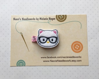 Felt Hair Clips- Nerdy Kitty Hair Clip