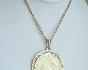 Vintage Peruvian 1891 Coin Pendant Necklace, Goldtone