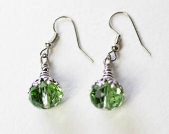 Floral and Filigree Crystal Drop Pierced Earrings