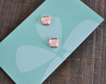 Clous d'oreilles argent Sterling cristal rose - 925 silver stud earrings sweet pink