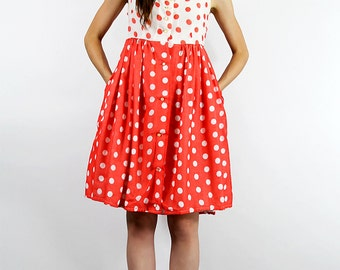 Dress Vintage 60's Empire DressPOCKETS SEARS Polkadot Mod Full Skir // TatiTati Style on Etsy