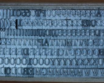 Letterpress Type Alphabet 18 pt Capitals Lower Case complete sets letters numbers punctuation