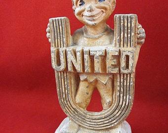Vintage 1957 United Fund Campaign Award, Elf, Figurine, Original, Chalkware, Peter Pan, Décor, Nostalgic, Throwback, Cool