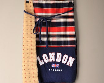 Upcycled London Wrap Skirt in Navy and Flannel Plaids/ Handmade Womens Skirt/Winter Eco Wear
