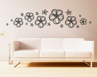 flowers wall decals- multiple flowers, many sizes