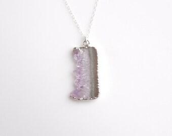 Raw Amethyst Druzy Necklace in Silver - OOAK Jewellry