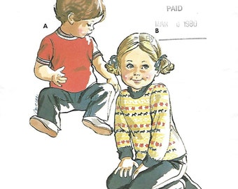 Kwik Sew 699 Child or Toddler's 70s T-Shirt Sewing Pattern Size 1 to 3, Chest Breast 21 to 23