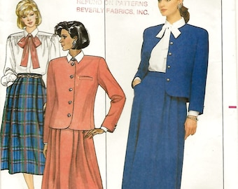 Butterick 4018 Evan Picone Misses' 80s Suit Jacket, Skirt & Tie Blouse Sewing Pattern Size 14 Bust 36