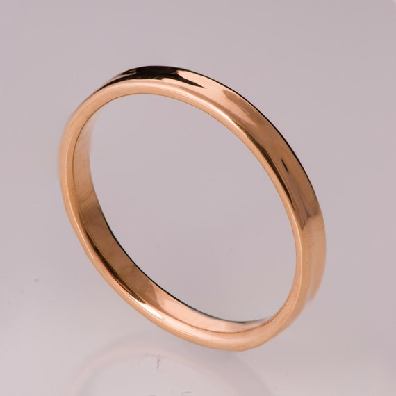 Simple Gold Wedding Band 14k Rose Gold Ring Uni by doronmerav