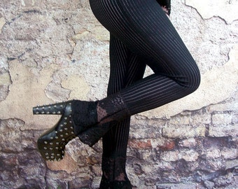 Black lace leggings gothic striped flared bootcut flares bell bottom hippy goth Small to Plus sizes
