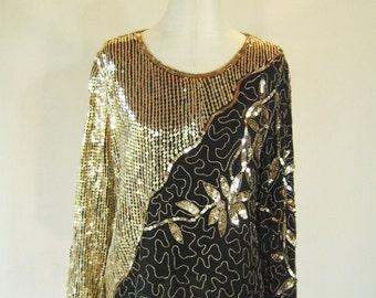 Golden Diagonal Floral Sequin Slouchy Shirt Top Glam