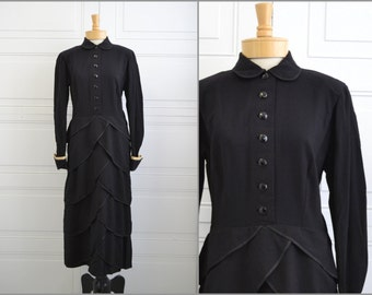 1930s Mary Hardt German Black Wool Dress