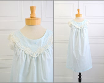 1960s Shadowline Pale Blue Night Gown