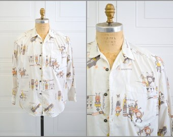 1980s Swatch Medieval Print Shirt