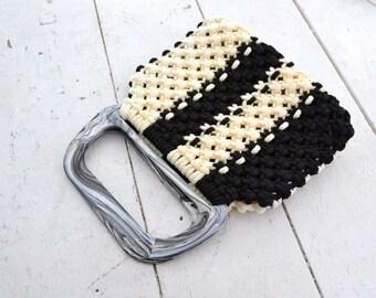 1970s Black and Cream Striped Macrame Handbag